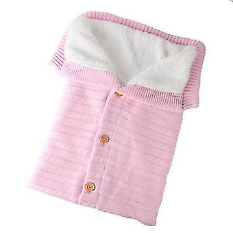 Light pink baby kids toddler thick knit soft warm blanket swaddle sleeping bag x4584