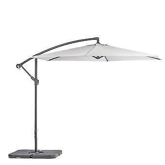 Cantilever Garden Parasol & Weights Set Waterproof Umbrella 2.95 x 2.5m Grey