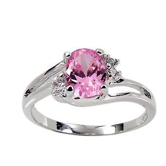 Offset Twist Sterling Silver Oval Pink Stone Ring