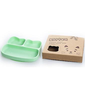 Cat green children's silicone dinner plate, food divider bowl az14848