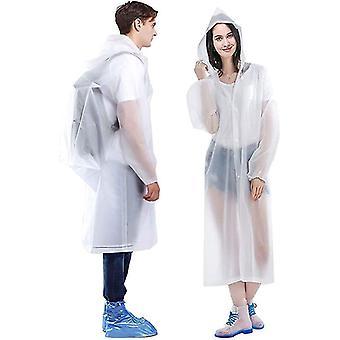 Bärbara Eva Rain Coats återanvändbara regnponcho med huva och elastiska manschettärmar (vit)