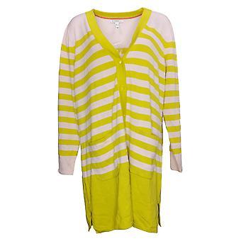 Isaac Mizrahi Live! Damen Pullover Button-Front Cardigan Gelb A393578