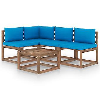 vidaXL 5 pcs. Garden lounge set with light blue cushions