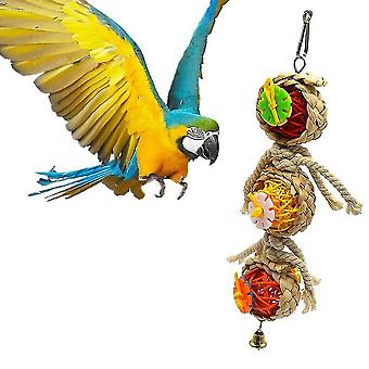Bird Parrot Toy Natural Wooden Corn Chewing Bite Hanging Cage Swing Climb Chew Toy