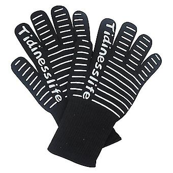 Extreme Heat Resistant Bbq Oven Safety Gloves Certified For Kitchen(Black)