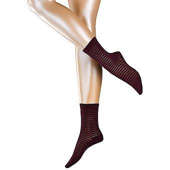 Esprit transparant Stripe ponožky-Barolo Burgundy