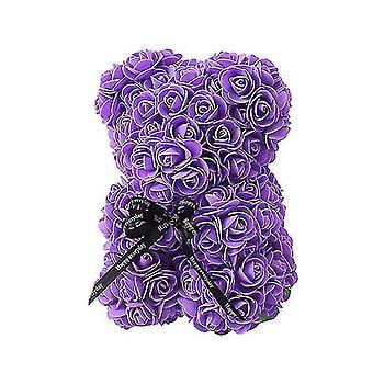Подарок на день святого Валентина 25 см роза медведь день рождения подарок £? день памяти подарок плюшевый мишка (фиолетовый)