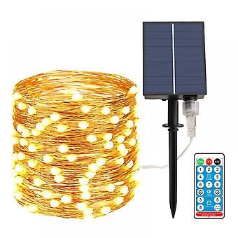 Remote Control Solar Copper Wire String Light 65.6 Inch 200 Led Lights Outdoor Waterproof Christmas Garden Decoration Light String (warm White)