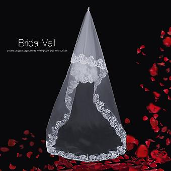 3 Meters Long Lace Edge Cathedral Wedding Gown Bridal White Tulle Veil