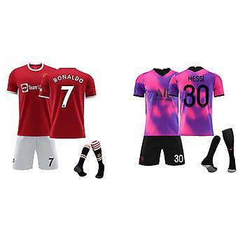 Cristiano Ronaldo Manchester United & Messi Jersey (children's Clothing Set