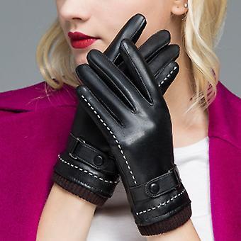 Winter Lederhandschuhe für Damen, Wollfleece gefüttert warme Handschuhe M