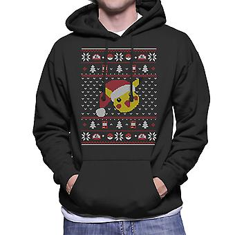 Christmas Pikachu Knit Pattern Pokemon Men's Hooded Sweatshirt