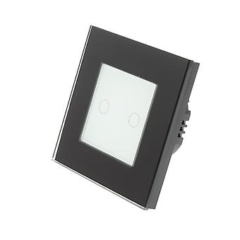 I LumoS Black Glass Frame 2 Gang 1 Way WIFI/4G Remote Touch LED Light Switch White Insert