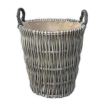Tall Grey Round Hessian Lined Wicker Log Basket
