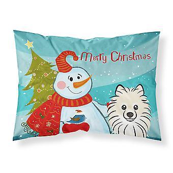 Snowman with Pomeranian Fabric Standard Pillowcase