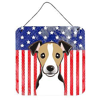 Amerykańską flagę i Jack Russell Terrier ściany lub drzwi wiszące drukuje