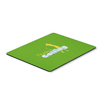 I'd rather be Golfing Woman on Green Mouse Pad, Hot Pad or Trivet