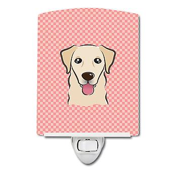 Checkerboard Pink Golden Retriever Ceramic Night Light