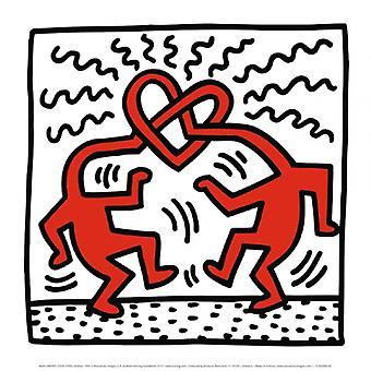 ללא כותרת 1989 (לב של ראש) פוסטר הדפסה על ידי קית ' הרינג (12 x 12)