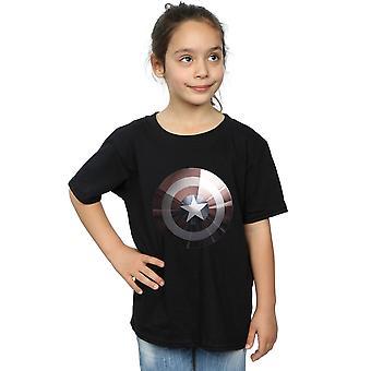 マーベル女の子キャプテン ・ アメリカの盾光沢のある t シャツ