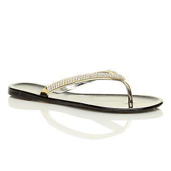 Ajvani naisten tasainen gold diamante hyytelö toe post kumi kesän Varvassandaalit sandaalit