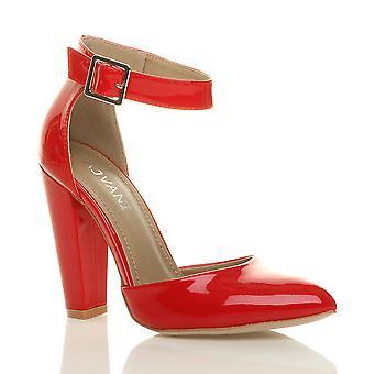 Ajvani Womens hohe Ferse Manschette Knöchel Schnalle wies Gericht Schuhe Pumps Sandalen