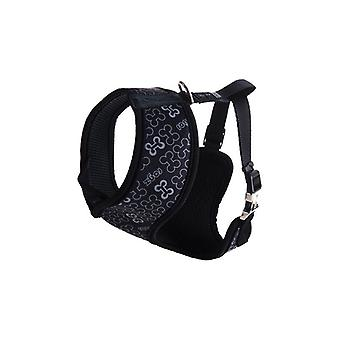Rogz Lapz Trendy Wrapz Comfort Dog Harness, Black Bones