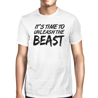 Unleash Beast Mens White Short Sleeve T-Shirt Funny Saying Tee Gift