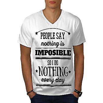 Nothing Impossible Funy Men WhiteV-Neck T-shirt | Wellcoda