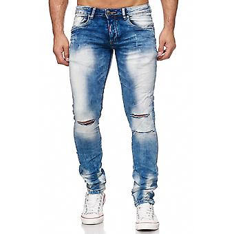Men's Jeans Destroyed Denim Pants Skinny Fit Bleached Ripped Used Tapered