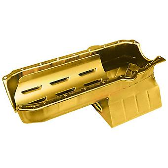 Milodon 30908 Steel, Gold Zinc Plated Stroker Street and Strip Oil Pan for Small Block Chevy