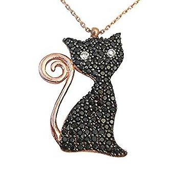Black cat necklace gold rose plated silver