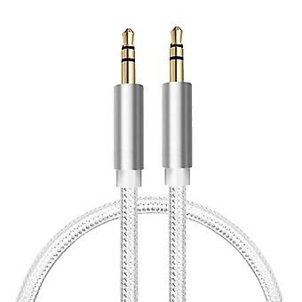 Stuff Certified® Braided Nylon Aluminum AUX Audio Cable 1 Meter Extra Strong 3.5mm Jack White