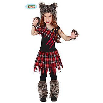 Costume Guirca Wolf écossais pour loup-garou de filles Carnaval Halloween horreur