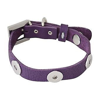 Leather dog collar for click buttons purple Size in cm 20,5 - 30,5 cm