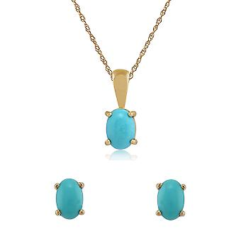 Gemondo 9ct Yellow Gold Turquoise Oval Stud Earrings & 45cm Necklace Set
