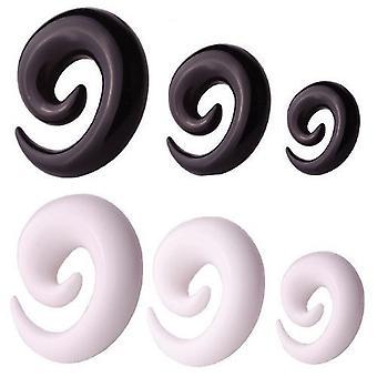 7 Määritä paketti korva kierre paarit Expander lävistyksiä, musta tai valkoinen | 2 - 10 mm