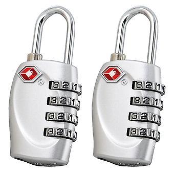 2 X TRIXES 4-Dial TSA Kombination Vorhängeschloss für Gepäck Koffer und Reise (Silber)