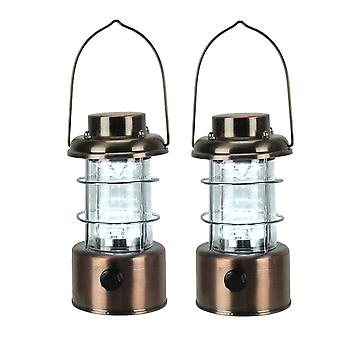Brushed Bronze Metal Cage LED Lantern Set of 2