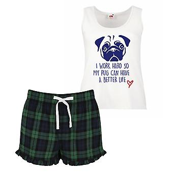 I Work Hard So My Pug Can Have A Better Life Pyjamas Ladies Tartan Frill Short Pyjama Set Red Blue or Green Blue