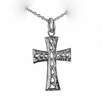 Zilveren 24x17mm knoop reliëf Keltisch kruis met een rolo ketting 24 inch