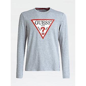 GISSA Grå långärmad triangel logotyp T-shirt