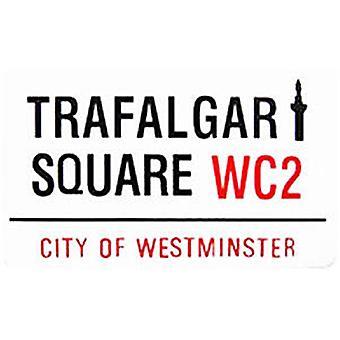 Trafalgar Square London Street tecken emalj kylskåpsmagnet (gg)