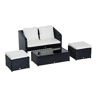 Outsunny 4PC Rattan Sofa Set Garden Outdoor Wicker 2 Seater Armrest Sofa Foot Stools Coffee Table Set w/ Pillow &  Cushions - Black