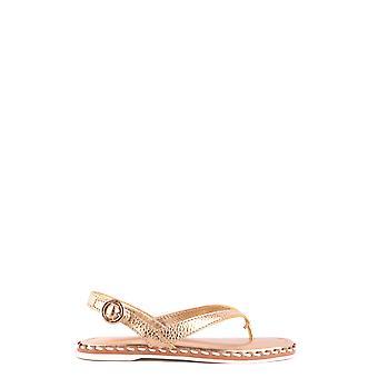 Car Shoe Ezbc029011 Women's Gold Leather Sandals