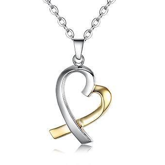 925 Sterling sølv 2-tone hjerte sølv og guld vedhæng halskæde