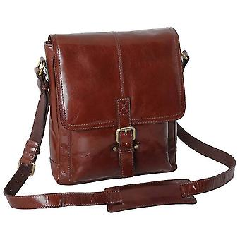 Ashwood Leather Chelsea Veg Tan Benjamin A4 Messenger Bag - Chestnut