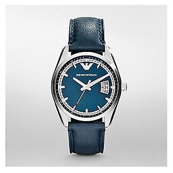 Emporio Armani Ar6017 Mens Tazio azul rosto pulseira de couro Watch