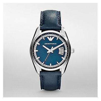 Emporio Armani Ar6017 Mens Tazio Blue Face Leather Strap Watch