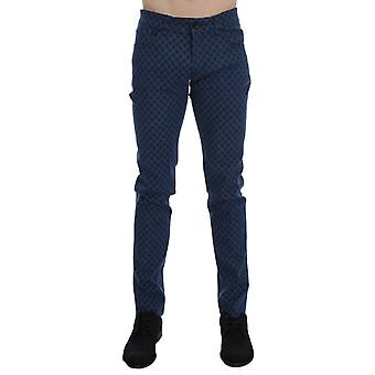 Blå bomull denim 14 strekke slim fit jeans
